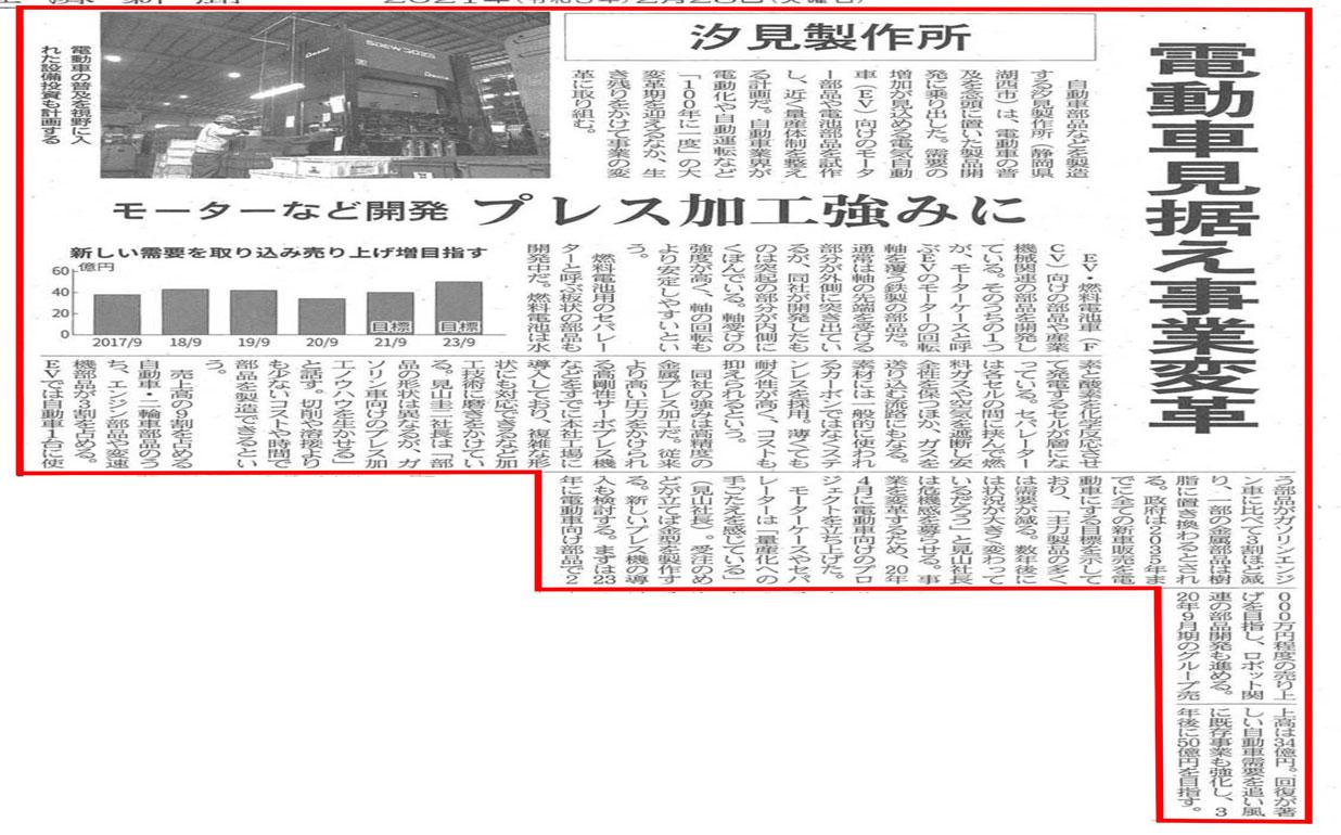 日本経済新聞に「汐見製作所」の記事が掲載されました!!